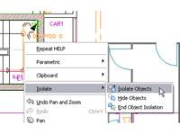 Изолирование объектов чертежа через контекстное меню AutoCAD LT 2011